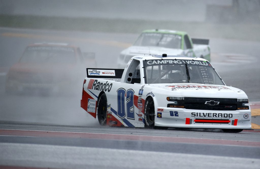AUSTIN, TEXAS - MAY 22: Kaz Grala, driver of the #02 Young's Building Systems Chevrolet, leads the field during qualifying for the NASCAR Camping World Truck Series Toyota Tundra 225 Qualifying at Circuit of The Americas on May 22, 2021 in Austin, Texas. (Photo by Jared C. Tilton/Getty Images) | Getty Images