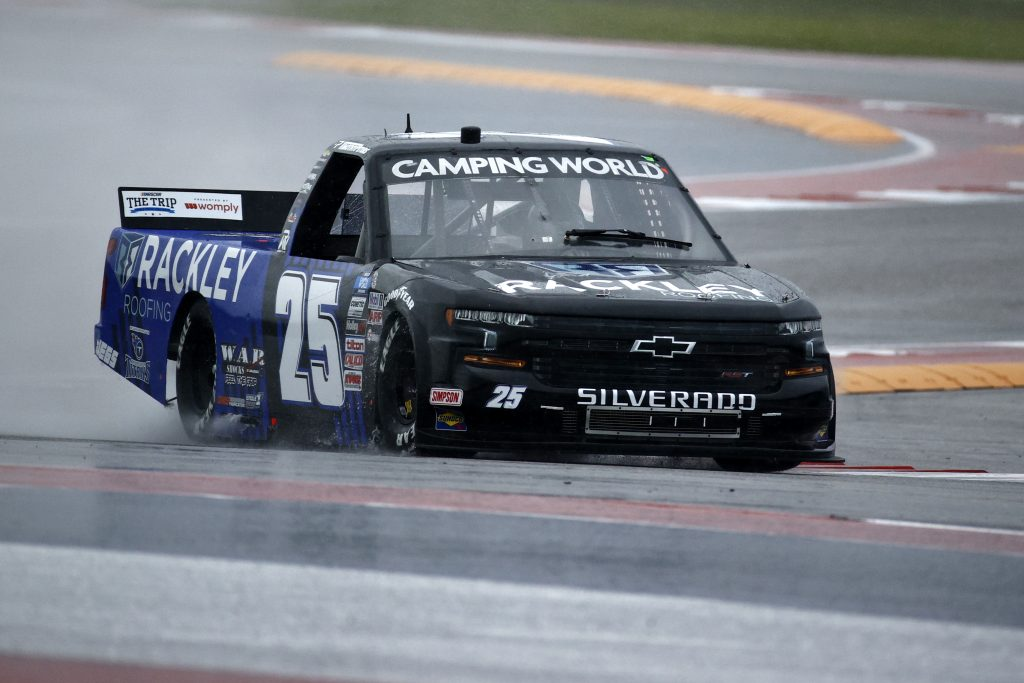 AUSTIN, TEXAS - MAY 22: Timothy Peters, driver of the #25 Rackley Roofing Chevrolet, drives during qualifying for the NASCAR Camping World Truck Series Toyota Tundra 225 Qualifying at Circuit of The Americas on May 22, 2021 in Austin, Texas. (Photo by Jared C. Tilton/Getty Images) | Getty Images