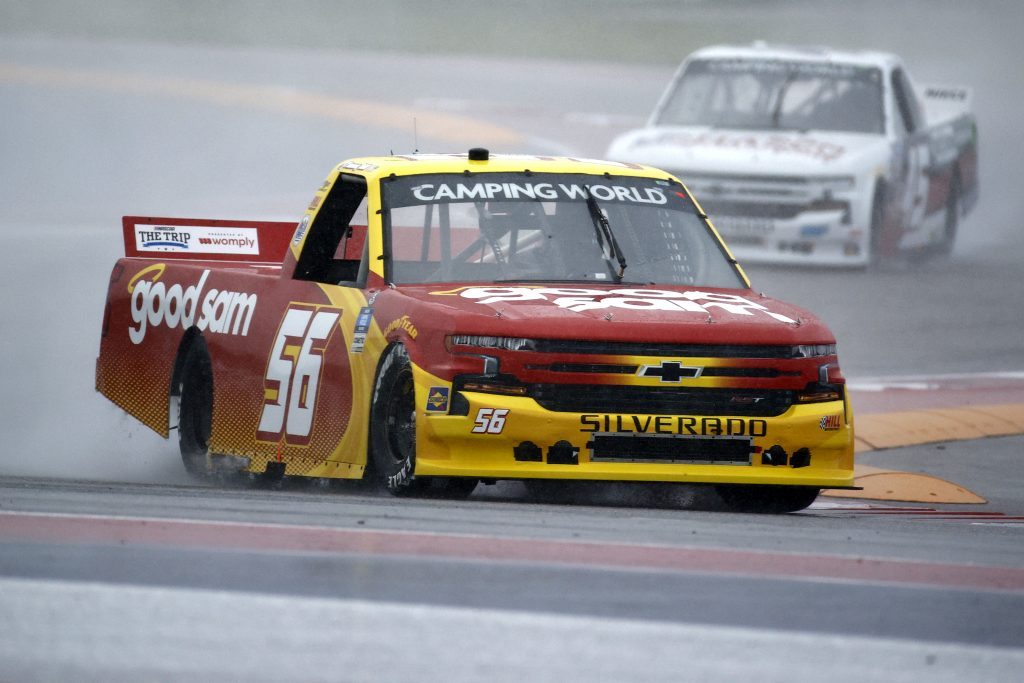 AUSTIN, TEXAS - MAY 22: Timmy Hill, driver of the #56 Good Sam Chevrolet, s during qualifying for the NASCAR Camping World Truck Series Toyota Tundra 225 Qualifying at Circuit of The Americas on May 22, 2021 in Austin, Texas. (Photo by Jared C. Tilton/Getty Images) | Getty Images