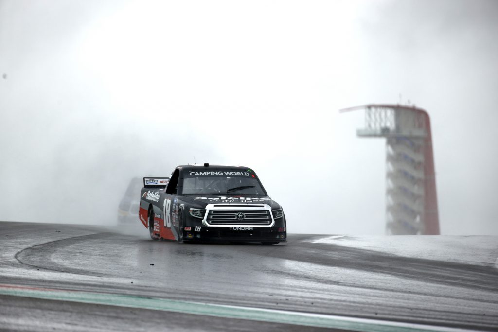 AUSTIN, TEXAS - MAY 22: Chandler Smith, driver of the #18 Safelite AutoGlass Toyota, drives during qualifying for the NASCAR Camping World Truck Series Toyota Tundra 225 Qualifying at Circuit of The Americas on May 22, 2021 in Austin, Texas. (Photo by Jared C. Tilton/Getty Images) | Getty Images
