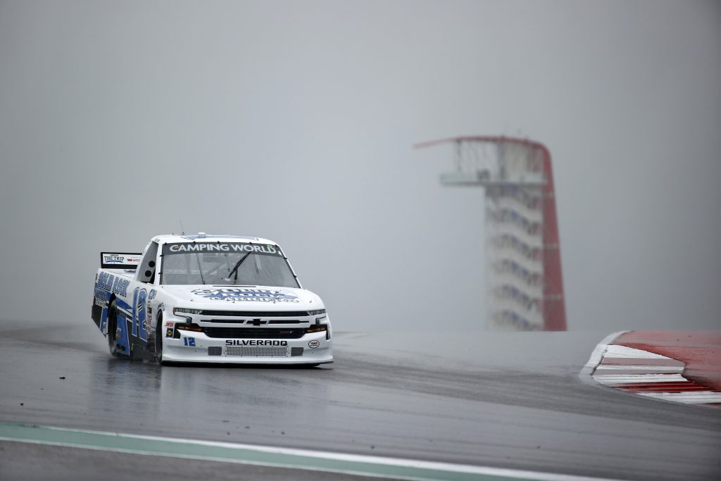 AUSTIN, TEXAS - MAY 22: Tate Fogleman, driver of the #12 Solid Rock Carriers Chevrolet, drives during qualifying for the NASCAR Camping World Truck Series Toyota Tundra 225 Qualifying at Circuit of The Americas on May 22, 2021 in Austin, Texas. (Photo by Jared C. Tilton/Getty Images) | Getty Images