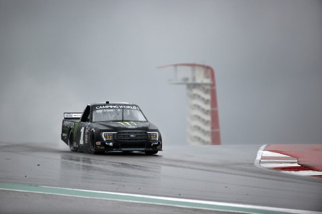 AUSTIN, TEXAS - MAY 22: Hailie Deegan, driver of the #1 Monster Energy Ford, drives during qualifying for the NASCAR Camping World Truck Series Toyota Tundra 225 Qualifying at Circuit of The Americas on May 22, 2021 in Austin, Texas. (Photo by Jared C. Tilton/Getty Images)   Getty Images
