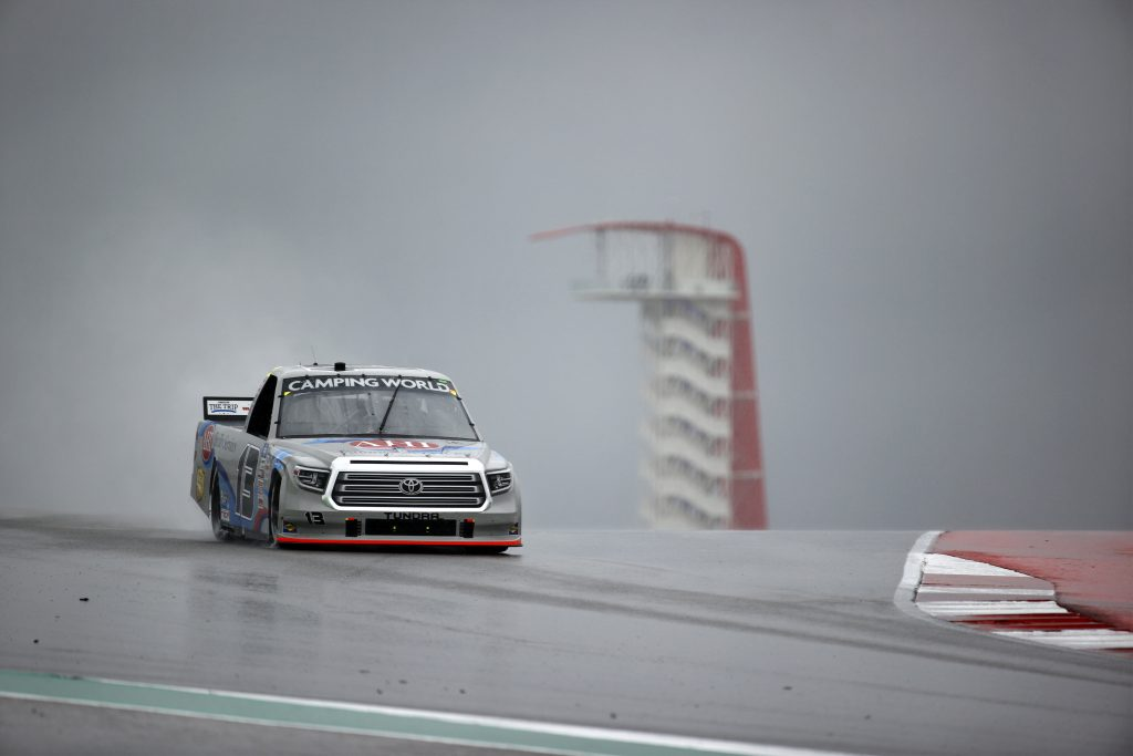 AUSTIN, TEXAS - MAY 22: Johnny Sauter, driver of the #13 AHI Facility Services Toyota, drives during qualifying for the NASCAR Camping World Truck Series Toyota Tundra 225 Qualifying at Circuit of The Americas on May 22, 2021 in Austin, Texas. (Photo by Jared C. Tilton/Getty Images) | Getty Images