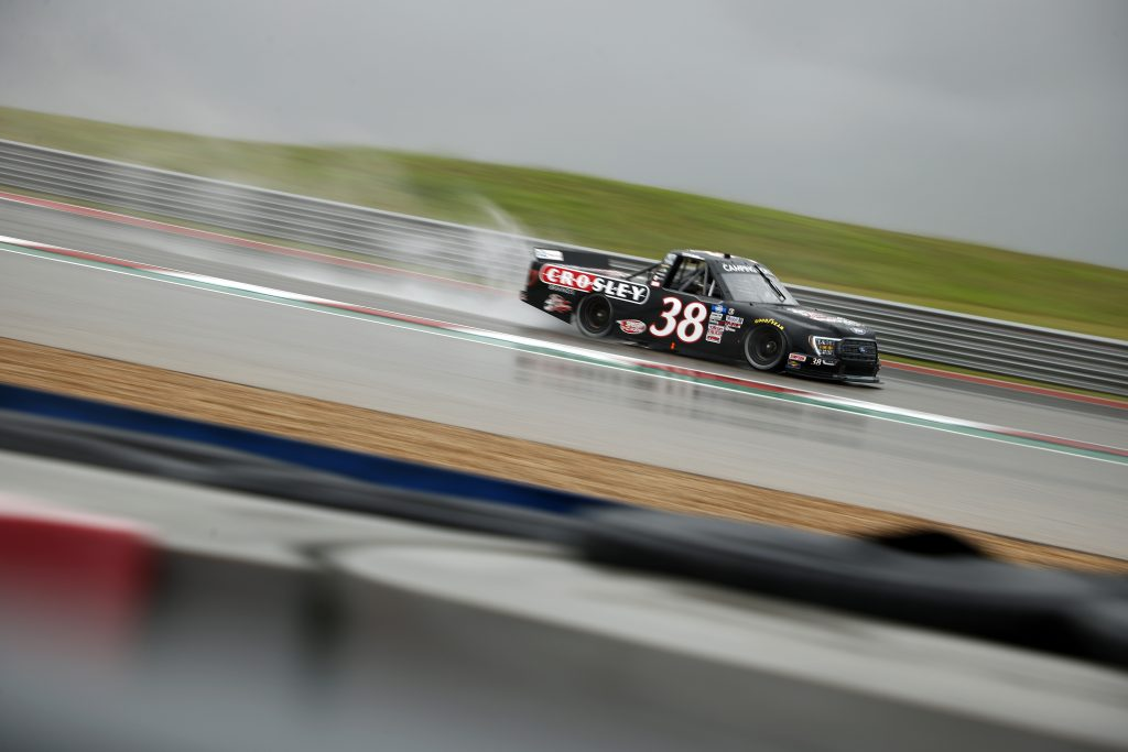 AUSTIN, TEXAS - MAY 22: Todd Gilliland, driver of the #38 Crosley Brands Ford, drives during qualifying for the NASCAR Camping World Truck Series Toyota Tundra 225 Qualifying at Circuit of The Americas on May 22, 2021 in Austin, Texas. (Photo by Jared C. Tilton/Getty Images) | Getty Images