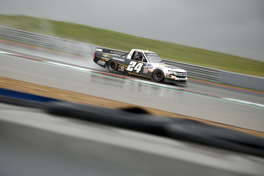AUSTIN, TEXAS - MAY 22: Jack Wood, driver of the #24 Chevy Accessories Chevrolet, drives during qualifying for the NASCAR Camping World Truck Series Toyota Tundra 225 Qualifying at Circuit of The Americas on May 22, 2021 in Austin, Texas. (Photo by Jared C. Tilton/Getty Images) | Getty Images