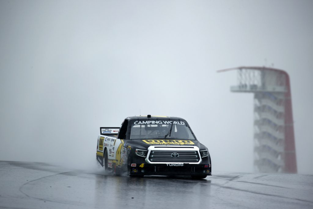 AUSTIN, TEXAS - MAY 22: John Hunter Nemechek, driver of the #4 ROMCO Toyota, drives during qualifying for the NASCAR Camping World Truck Series Toyota Tundra 225 Qualifying at Circuit of The Americas on May 22, 2021 in Austin, Texas. (Photo by Jared C. Tilton/Getty Images)   Getty Images
