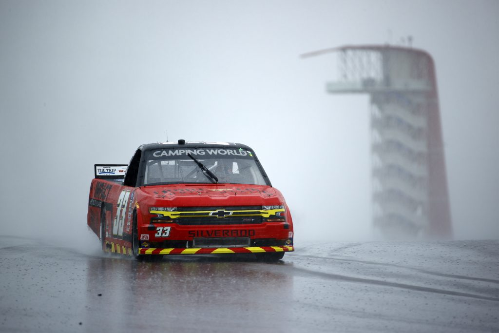 AUSTIN, TEXAS - MAY 22: Cameron Lawrence, driver of the #33 Impact Health Chevrolet, drives during qualifying for the NASCAR Camping World Truck Series Toyota Tundra 225 Qualifying at Circuit of The Americas on May 22, 2021 in Austin, Texas. (Photo by Jared C. Tilton/Getty Images) | Getty Images