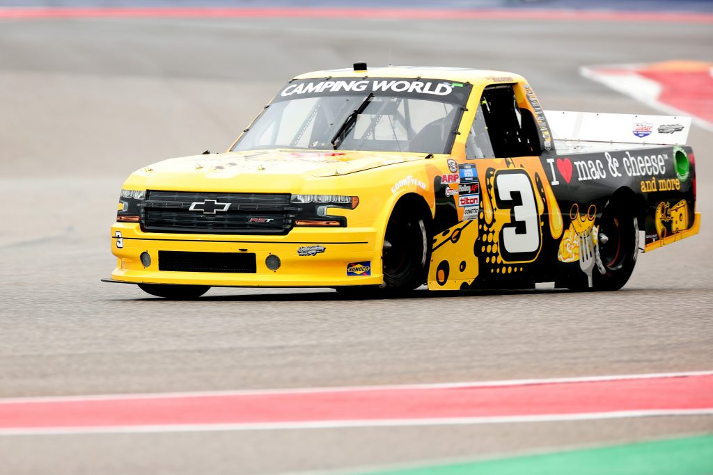 AUSTIN, TEXAS - MAY 22: Roger Reuse, driver of the #3 I Heart Mac & Cheese Chevrolet, drives during the NASCAR Camping World Truck Series Toyota Tundra 225 at Circuit of The Americas on May 22, 2021 in Austin, Texas. (Photo by Carmen Mandato/Getty Images) | Getty Images