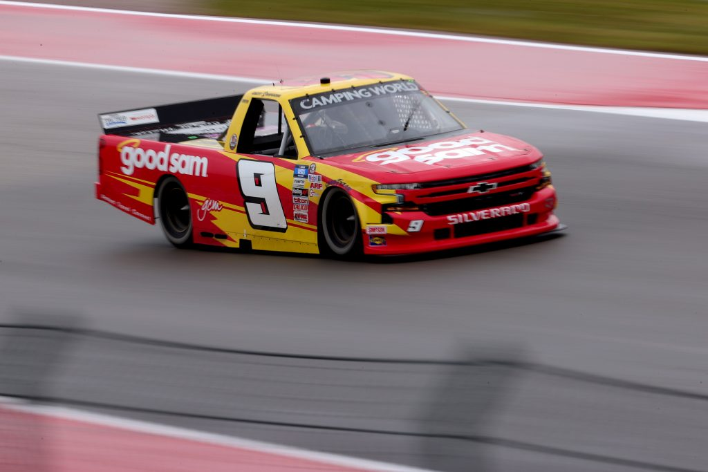 AUSTIN, TEXAS - MAY 22: Grant Enfinger, driver of the #9 Good Sam Club Chevrolet, drives during the NASCAR Camping World Truck Series Toyota Tundra 225 at Circuit of The Americas on May 22, 2021 in Austin, Texas. (Photo by Carmen Mandato/Getty Images) | Getty Images