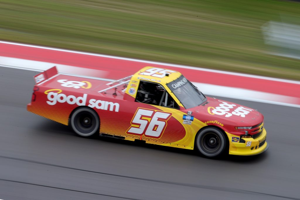 AUSTIN, TEXAS - MAY 22: Timmy Hill, driver of the #56 Good Sam Chevrolet, drives during the NASCAR Camping World Truck Series Toyota Tundra 225 at Circuit of The Americas on May 22, 2021 in Austin, Texas. (Photo by Carmen Mandato/Getty Images)   Getty Images
