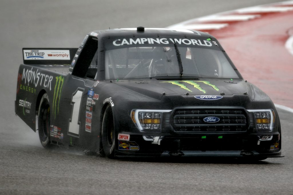 AUSTIN, TEXAS - MAY 22: Hailie Deegan, driver of the #1 Monster Energy Ford, drives during the NASCAR Camping World Truck Series Toyota Tundra 225 at Circuit of The Americas on May 22, 2021 in Austin, Texas. (Photo by Jared C. Tilton/Getty Images) | Getty Images