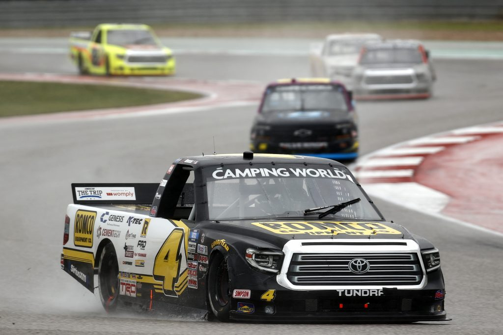 AUSTIN, TEXAS - MAY 22: John Hunter Nemechek, driver of the #4 ROMCO Toyota, drives during the NASCAR Camping World Truck Series Toyota Tundra 225 at Circuit of The Americas on May 22, 2021 in Austin, Texas. (Photo by Jared C. Tilton/Getty Images) | Getty Images