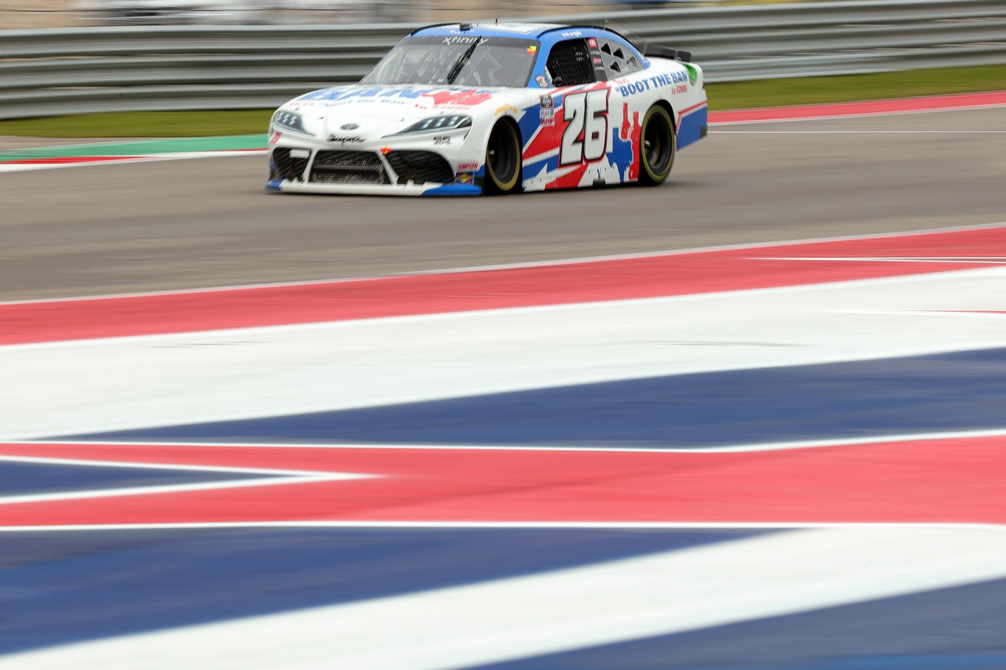AUSTIN, TEXAS - MAY 22: Kris Wright, driver of the #26 Boot the Ban Toyota, drives during the NASCAR Xfinity Series Pit Boss 250 at Circuit of The Americas on May 22, 2021 in Austin, Texas. (Photo by Carmen Mandato/Getty Images) | Getty Images