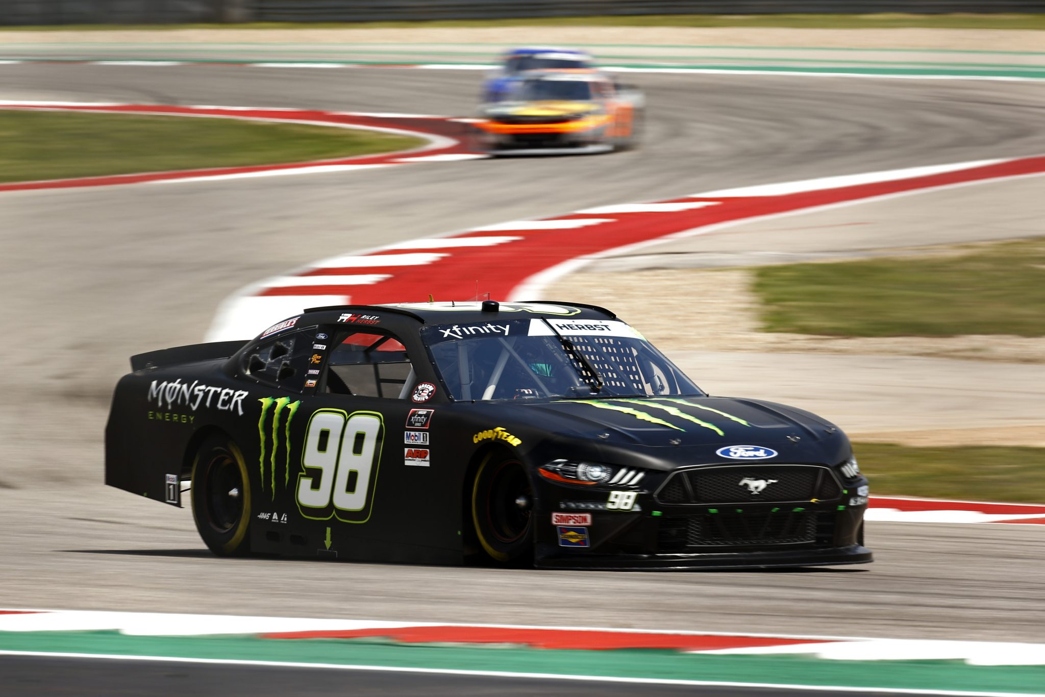AUSTIN, TEXAS - MAY 21: Riley Herbst, driver of the #98 Monster Energy Ford, drives during practice for the NASCAR Xfinity Series Pit Boss 250 at Circuit of The Americas on May 21, 2021 in Austin, Texas. (Photo by Jared C. Tilton/Getty Images) | Getty Images