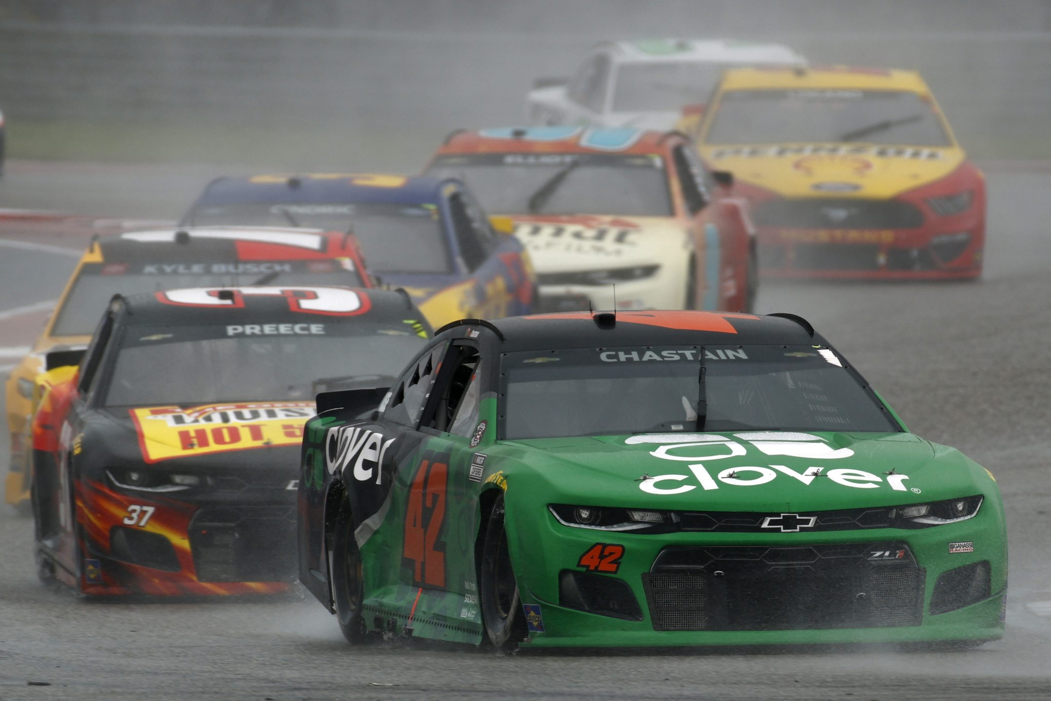 AUSTIN, TEXAS - MAY 23: Ross Chastain, driver of the #42 Clover Chevrolet, drives during the NASCAR Cup Series EchoPark Texas Grand Prix at Circuit of The Americas on May 23, 2021 in Austin, Texas. (Photo by Jared C. Tilton/Getty Images) | Getty Images