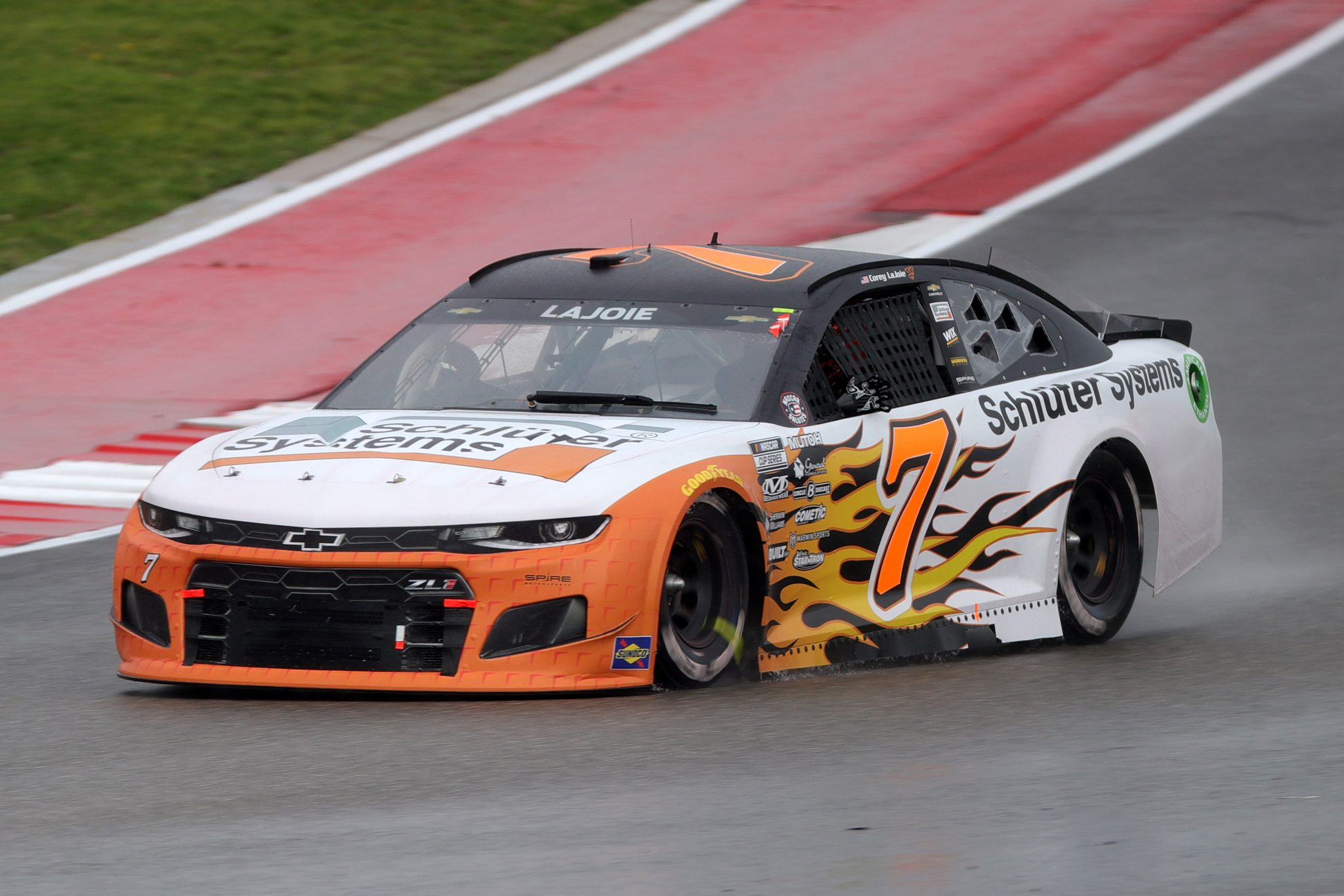 AUSTIN, TEXAS - MAY 23: Corey LaJoie, driver of the #7 Schluter Systems Chevrolet, drives during the NASCAR Cup Series EchoPark Texas Grand Prix at Circuit of The Americas on May 23, 2021 in Austin, Texas. (Photo by Carmen Mandato/Getty Images)   Getty Images
