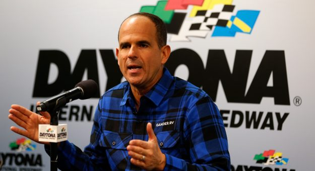 DAYTONA BEACH, FL - FEBRUARY 14:  Marcus Lemonis speaks during a press conference prior to practice for the NASCAR Gander Outdoor Truck Series NextEra Energy 250 at Daytona International Speedway on February 14, 2019 in Daytona Beach, Florida.  (Photo by Brian Lawdermilk/Getty Images) | Getty Images