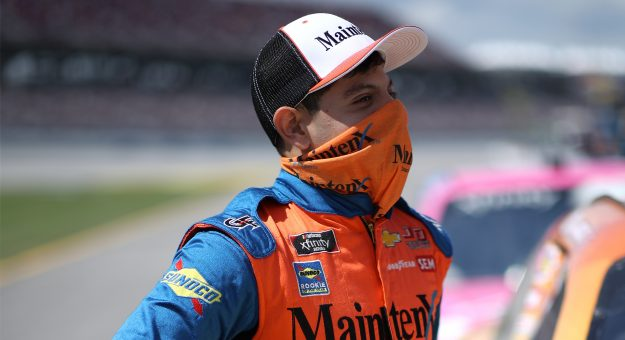 TALLADEGA, ALABAMA - APRIL 24: Ryan Vargas, driver of the #6 MaintenX Chevrolet, waits on the grid prior to the NASCAR Xfinity Series Ag-Pro 300 at Talladega Superspeedway on April 24, 2021 in Talladega, Alabama. (Photo by Sean Gardner/Getty Images)   Getty Images