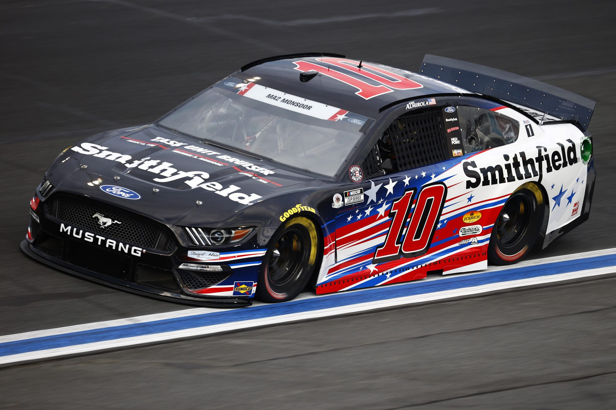 CONCORD, NORTH CAROLINA - MAY 28: Aric Almirola, driver of the #10 Smithfield Ford, drives during practice for the NASCAR Cup Series Coca-Cola 600 at Charlotte Motor Speedway on May 28, 2021 in Concord, North Carolina. (Photo by Jared C. Tilton/Getty Images) | Getty Images