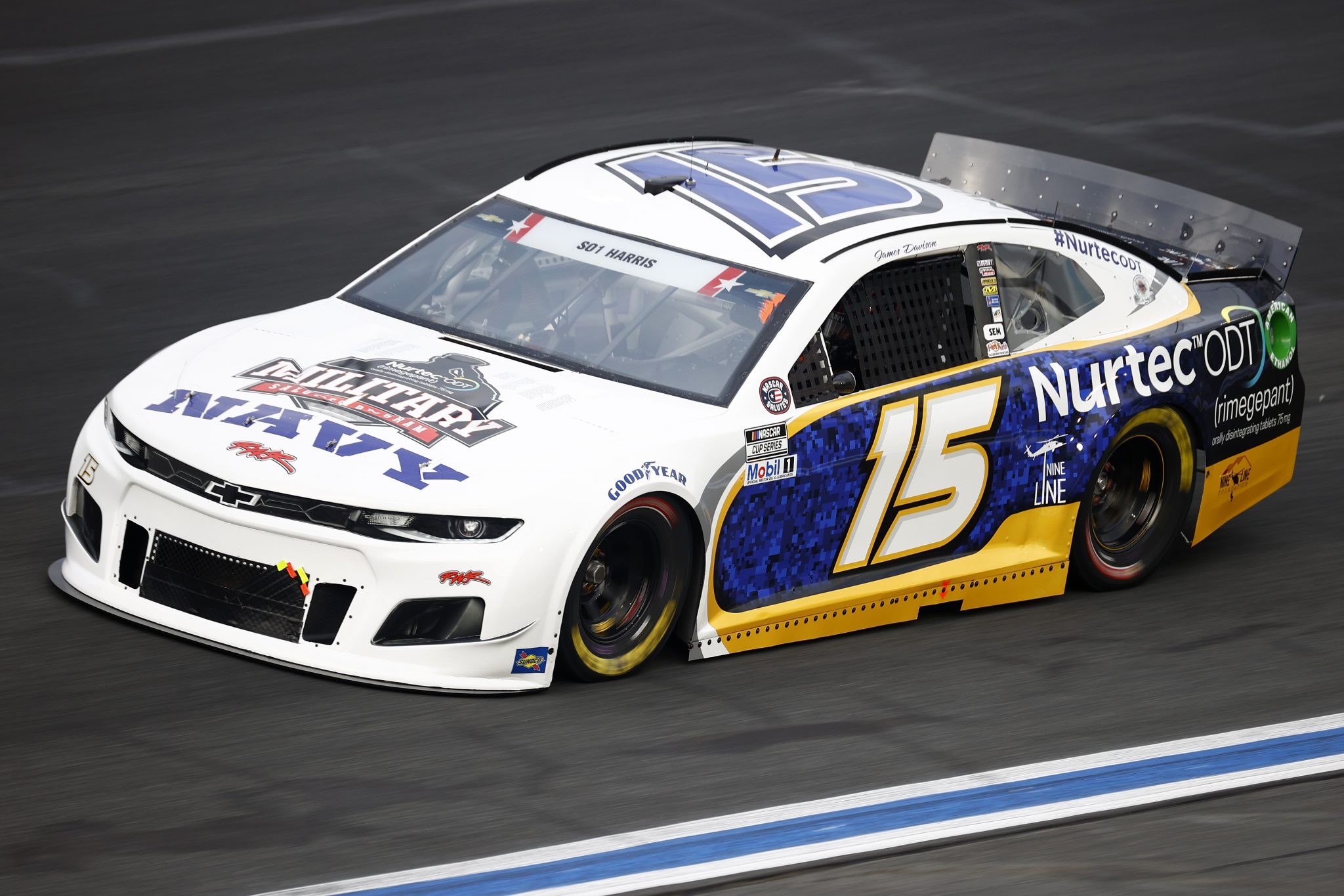 CONCORD, NORTH CAROLINA - MAY 28: James Davison, driver of the #15 NAVY Military Salutes Chevrolet, drives during practice for the NASCAR Cup Series Coca-Cola 600 at Charlotte Motor Speedway on May 28, 2021 in Concord, North Carolina. (Photo by Jared C. Tilton/Getty Images) | Getty Images