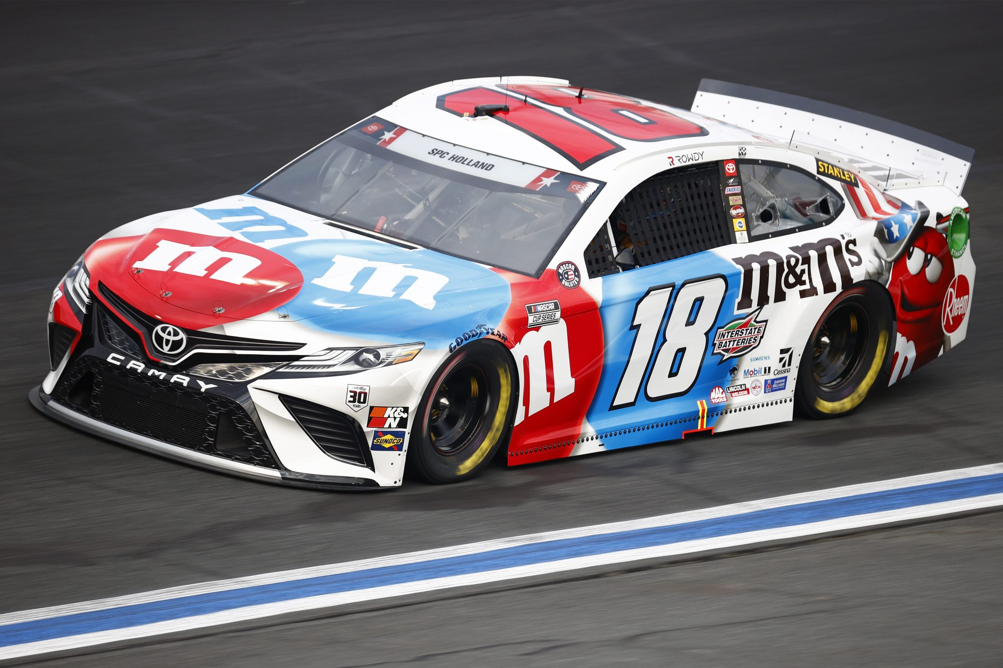 CONCORD, NORTH CAROLINA - MAY 28: Kyle Busch, driver of the #18 M&M's Red White & Blue Toyota, drives during practice for the NASCAR Cup Series Coca-Cola 600 at Charlotte Motor Speedway on May 28, 2021 in Concord, North Carolina. (Photo by Jared C. Tilton/Getty Images) | Getty Images