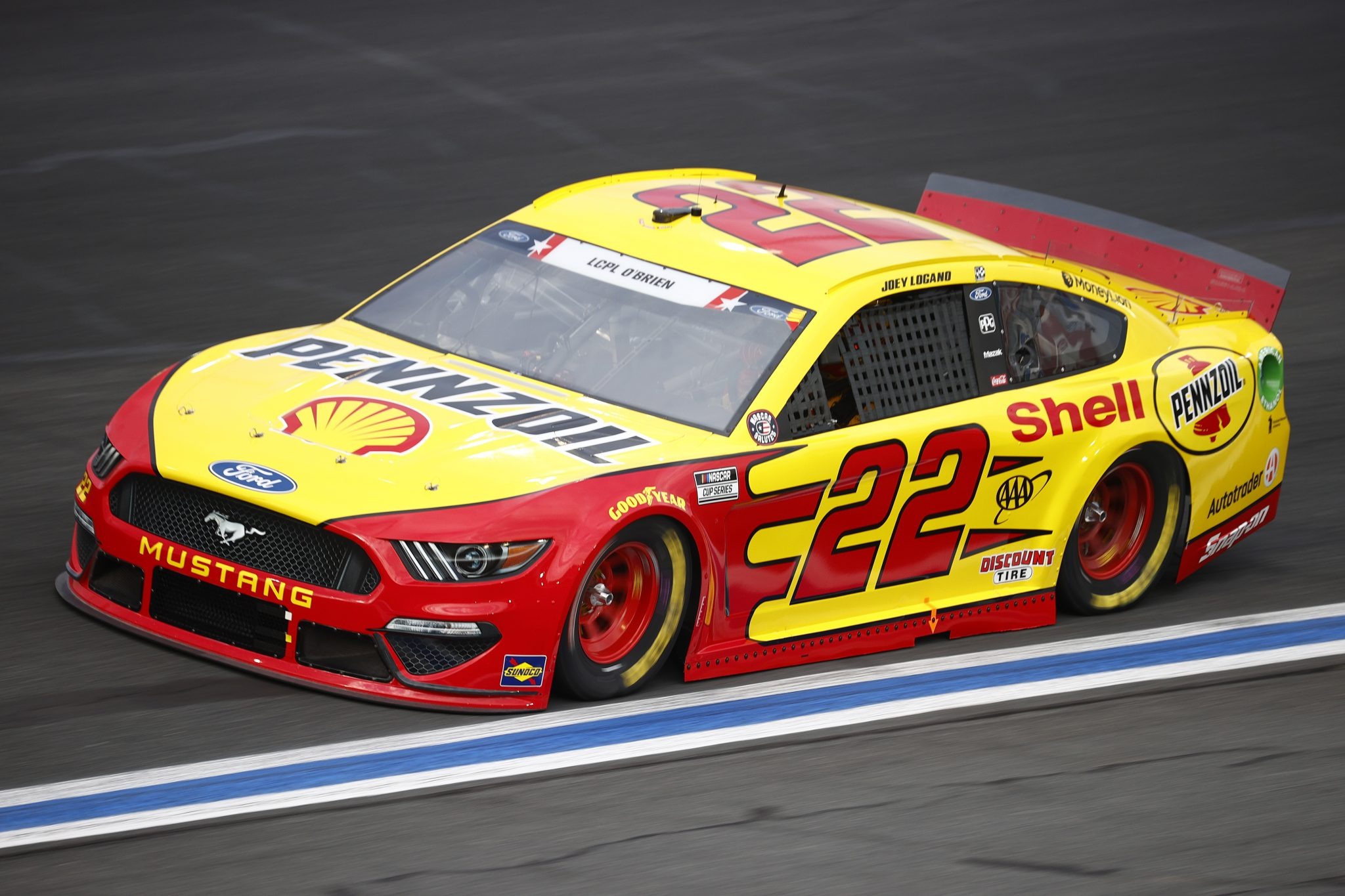 CONCORD, NORTH CAROLINA - MAY 28: Joey Logano, driver of the #22 Shell Pennzoil Ford, drives during practice for the NASCAR Cup Series Coca-Cola 600 at Charlotte Motor Speedway on May 28, 2021 in Concord, North Carolina. (Photo by Jared C. Tilton/Getty Images) | Getty Images
