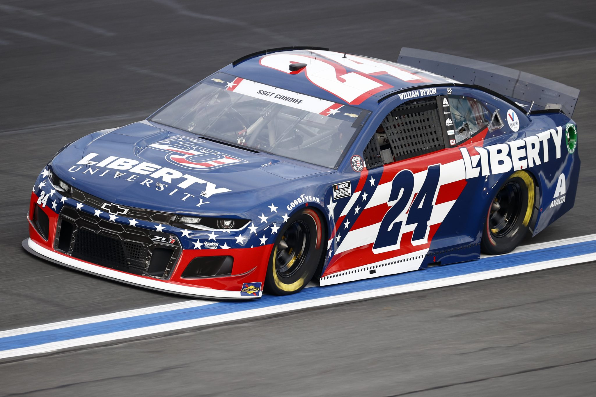 CONCORD, NORTH CAROLINA - MAY 28: William Byron, driver of the #24 Liberty University Chevrolet, drives during practice for the NASCAR Cup Series Coca-Cola 600 at Charlotte Motor Speedway on May 28, 2021 in Concord, North Carolina. (Photo by Jared C. Tilton/Getty Images) | Getty Images