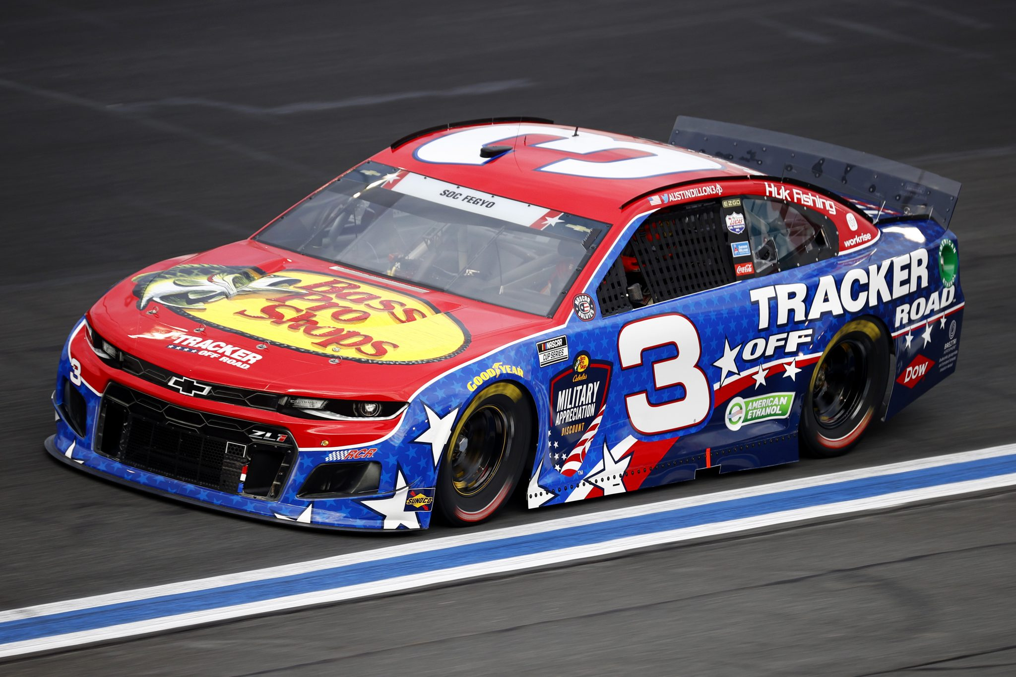 CONCORD, NORTH CAROLINA - MAY 28: Austin Dillon, driver of the #3 Bass Pro Shops/Tracker Off Road Chevrolet, drives during practice for the NASCAR Cup Series Coca-Cola 600 at Charlotte Motor Speedway on May 28, 2021 in Concord, North Carolina. (Photo by Jared C. Tilton/Getty Images) | Getty Images