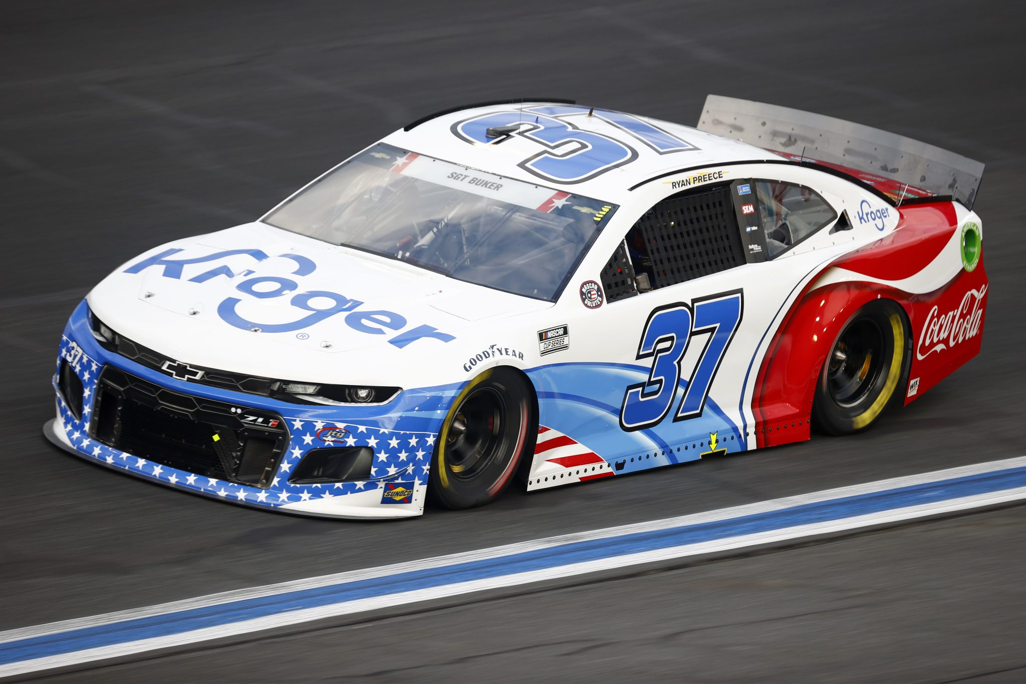 CONCORD, NORTH CAROLINA - MAY 28: Ryan Preece, driver of the #37 Kroger/Coca-Cola Chevrolet, drives during practice for the NASCAR Cup Series Coca-Cola 600 at Charlotte Motor Speedway on May 28, 2021 in Concord, North Carolina. (Photo by Jared C. Tilton/Getty Images) | Getty Images