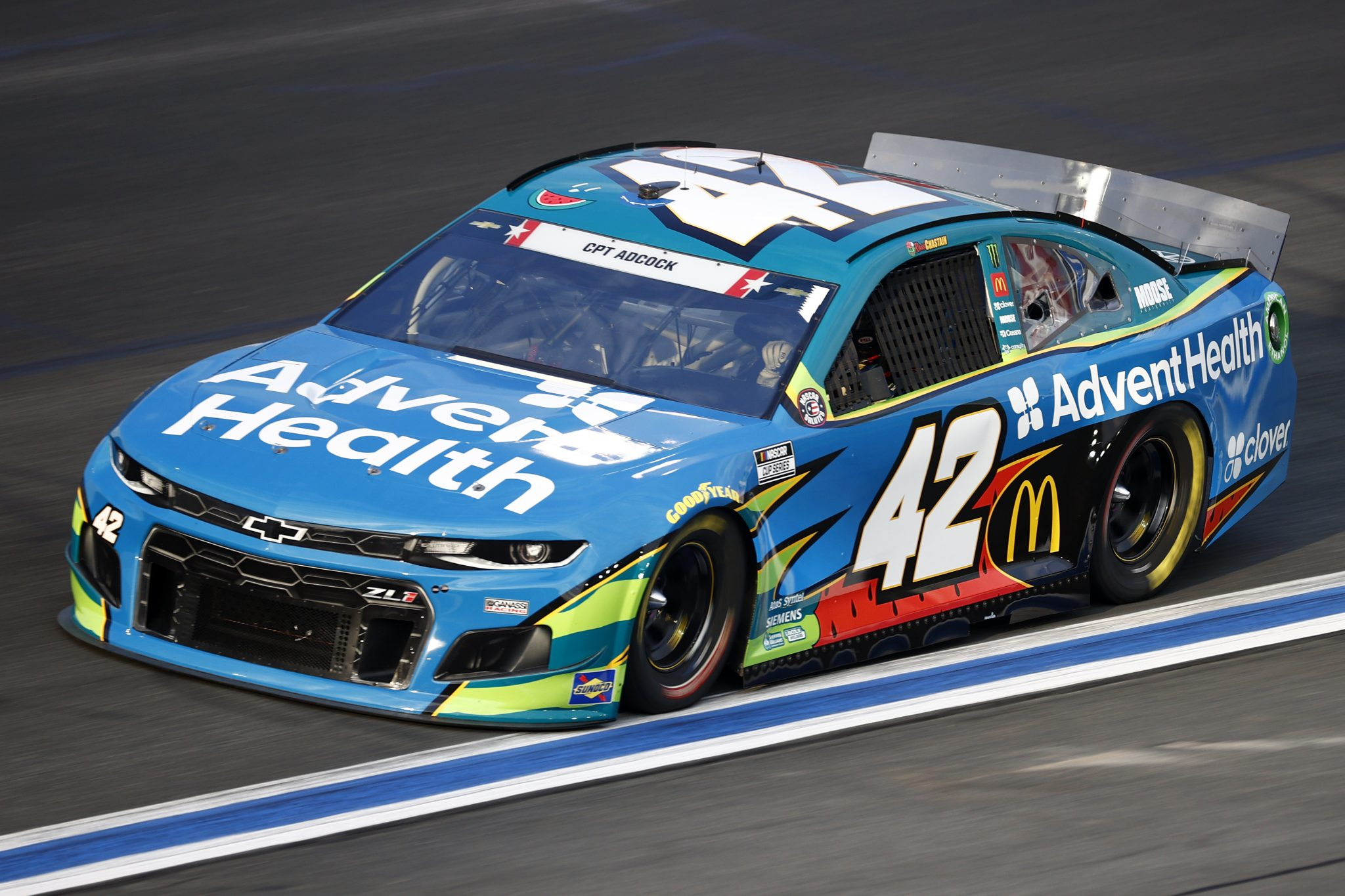 CONCORD, NORTH CAROLINA - MAY 28: Ross Chastain, driver of the #42 Advent Health Chevrolet, drives during practice for the NASCAR Cup Series Coca-Cola 600 at Charlotte Motor Speedway on May 28, 2021 in Concord, North Carolina. (Photo by Jared C. Tilton/Getty Images) | Getty Images