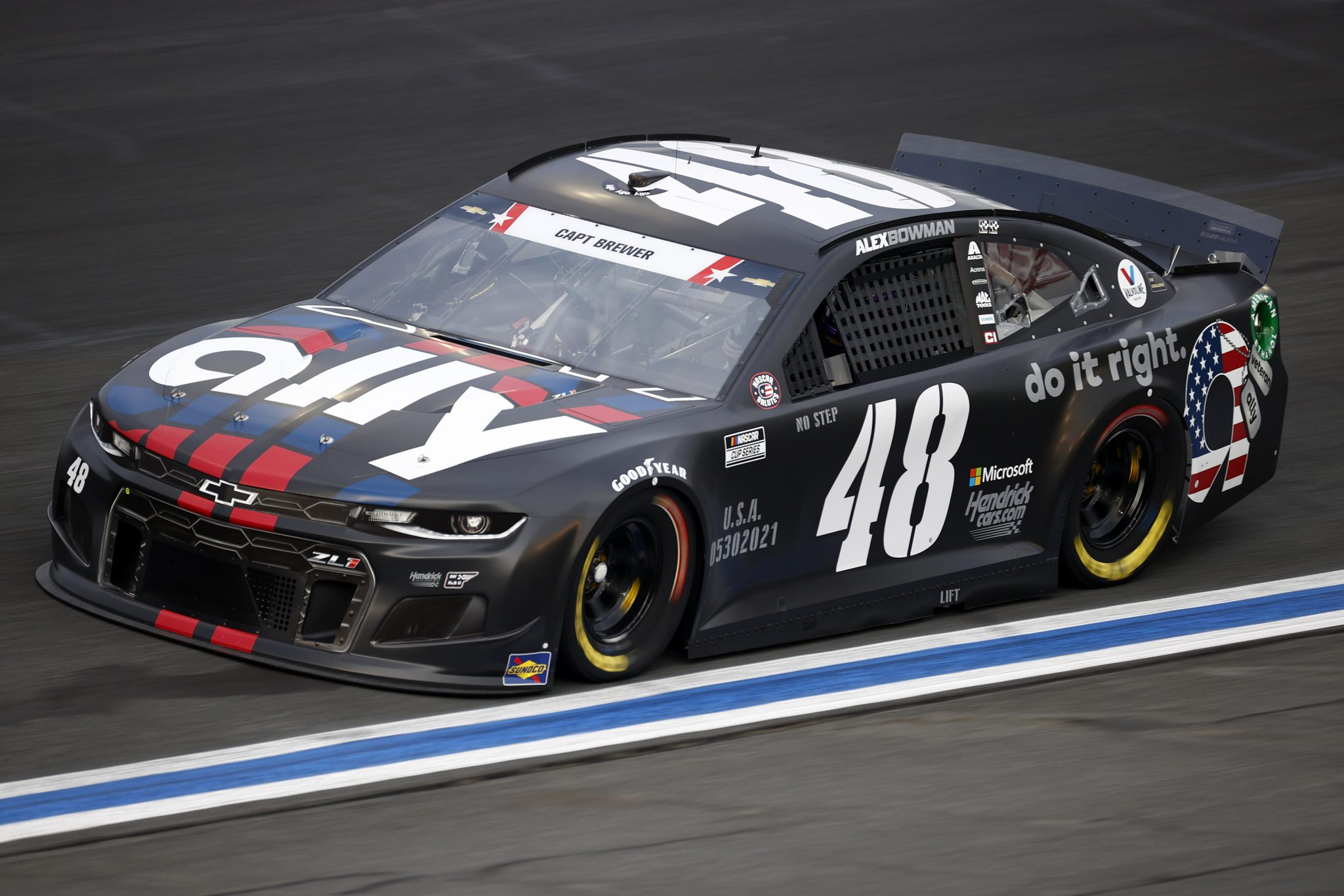 CONCORD, NORTH CAROLINA - MAY 28: Alex Bowman, driver of the #48 Ally Patriotic Chevrolet, drives during practice for the NASCAR Cup Series Coca-Cola 600 at Charlotte Motor Speedway on May 28, 2021 in Concord, North Carolina. (Photo by Jared C. Tilton/Getty Images) | Getty Images