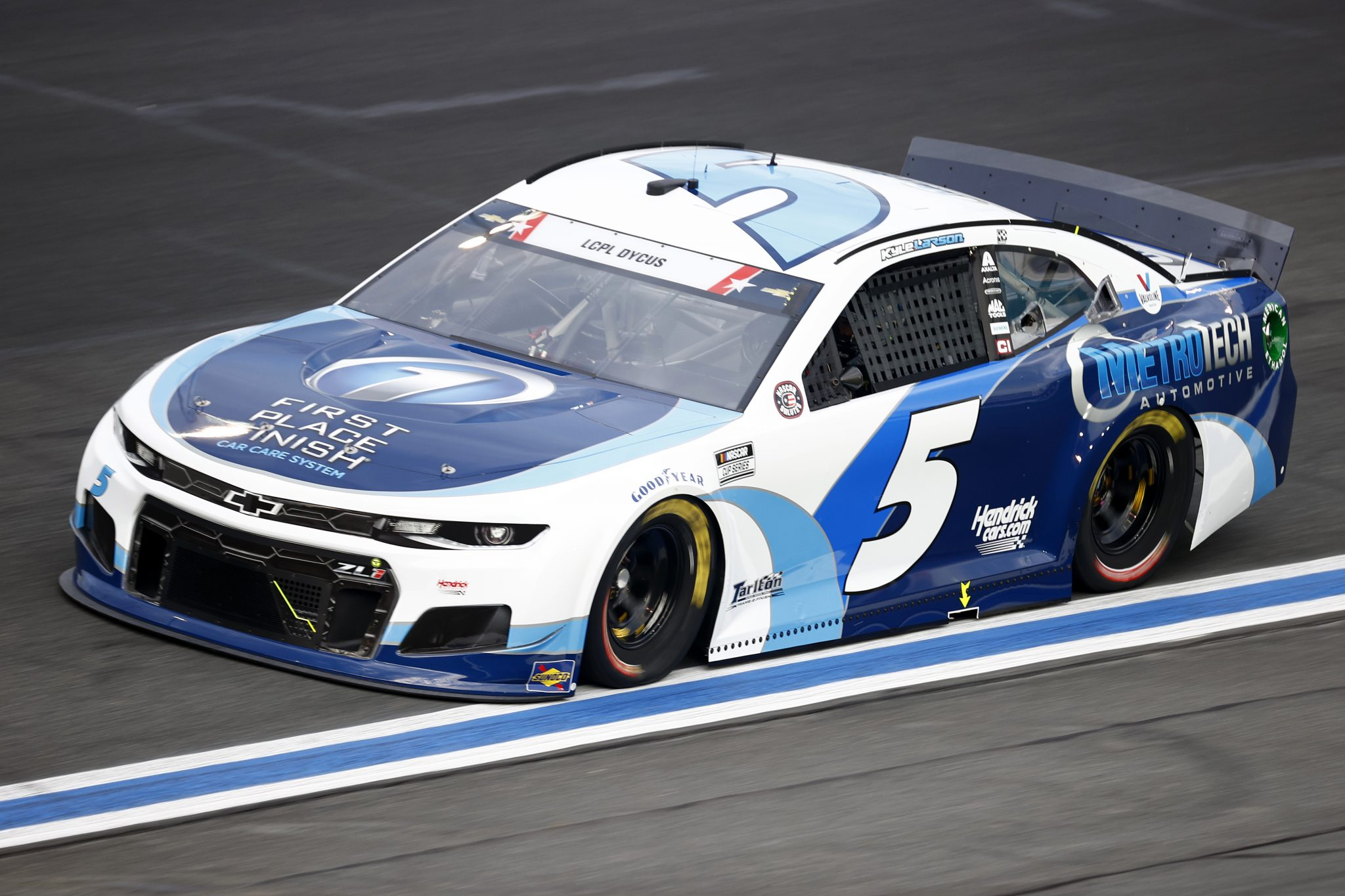 CONCORD, NORTH CAROLINA - MAY 28: Kyle Larson, driver of the #5 Metro Tech Chevrolet, drives during practice for the NASCAR Cup Series Coca-Cola 600 at Charlotte Motor Speedway on May 28, 2021 in Concord, North Carolina. (Photo by Jared C. Tilton/Getty Images) | Getty Images