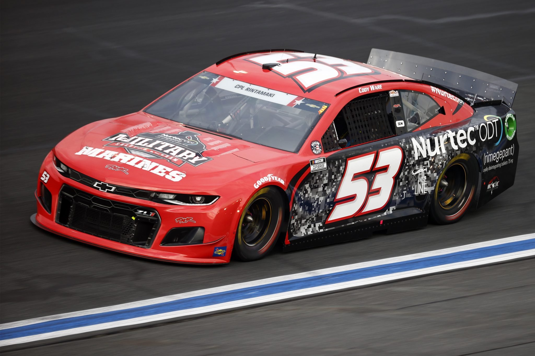 CONCORD, NORTH CAROLINA - MAY 28: Cody Ware, driver of the #53 US Marines Military Salutes Ford, drives during practice for the NASCAR Cup Series Coca-Cola 600 at Charlotte Motor Speedway on May 28, 2021 in Concord, North Carolina. (Photo by Jared C. Tilton/Getty Images) | Getty Images