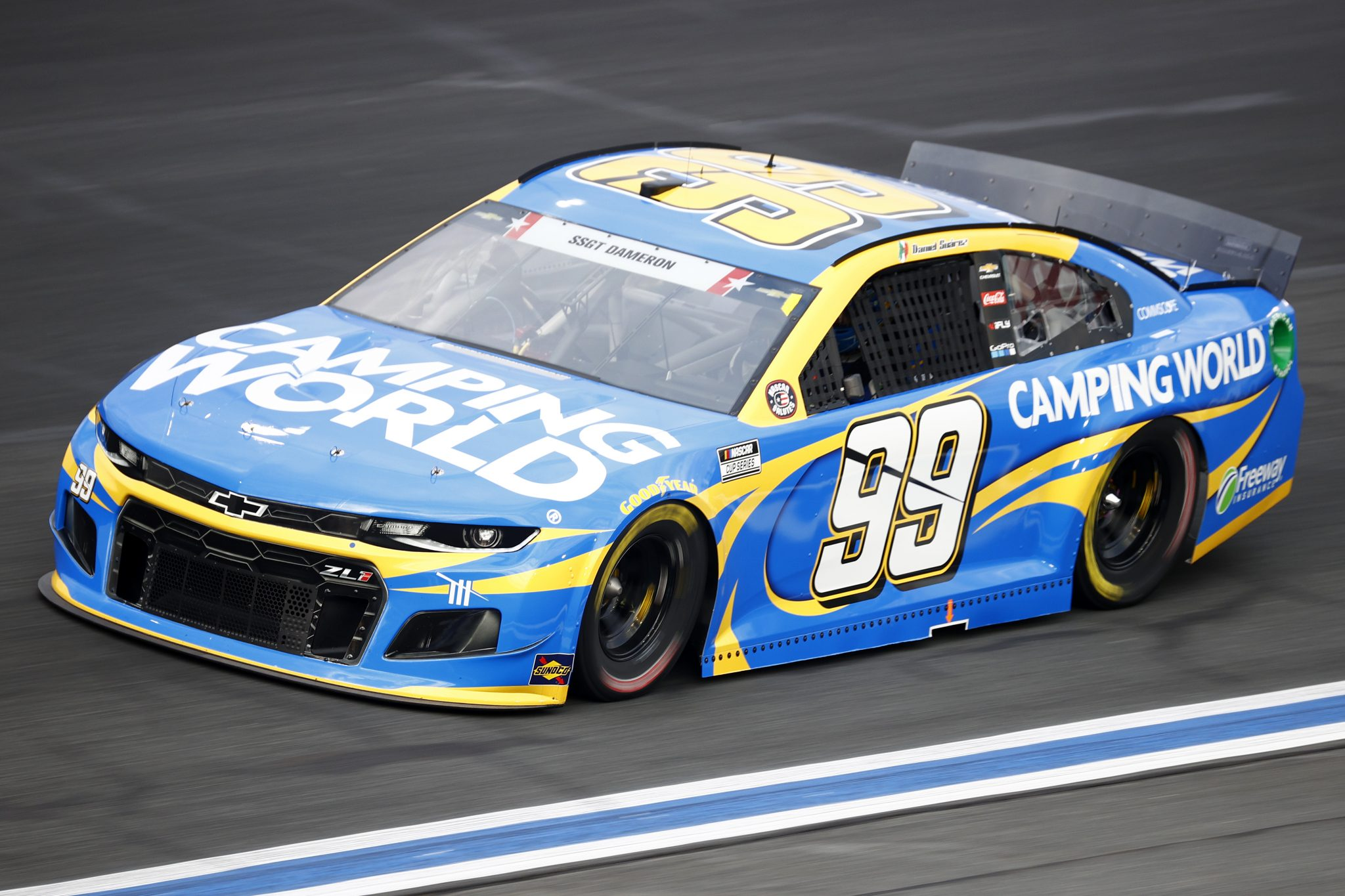 CONCORD, NORTH CAROLINA - MAY 28: Daniel Suarez, driver of the #99 Camping World Chevrolet, drives during practice for the NASCAR Cup Series Coca-Cola 600 at Charlotte Motor Speedway on May 28, 2021 in Concord, North Carolina. (Photo by Jared C. Tilton/Getty Images) | Getty Images