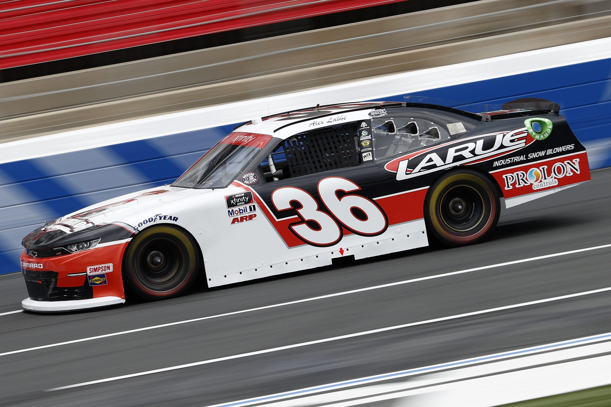 CONCORD, NORTH CAROLINA - MAY 28: Alex Labbe, driver of the #36 Larue Industrial Snowblowers Chevrolet, drives during practice for the NASCAR Xfinity Series Alsco Uniforms 300 at Charlotte Motor Speedway on May 28, 2021 in Concord, North Carolina. (Photo by Maddie Meyer/Getty Images) | Getty Images