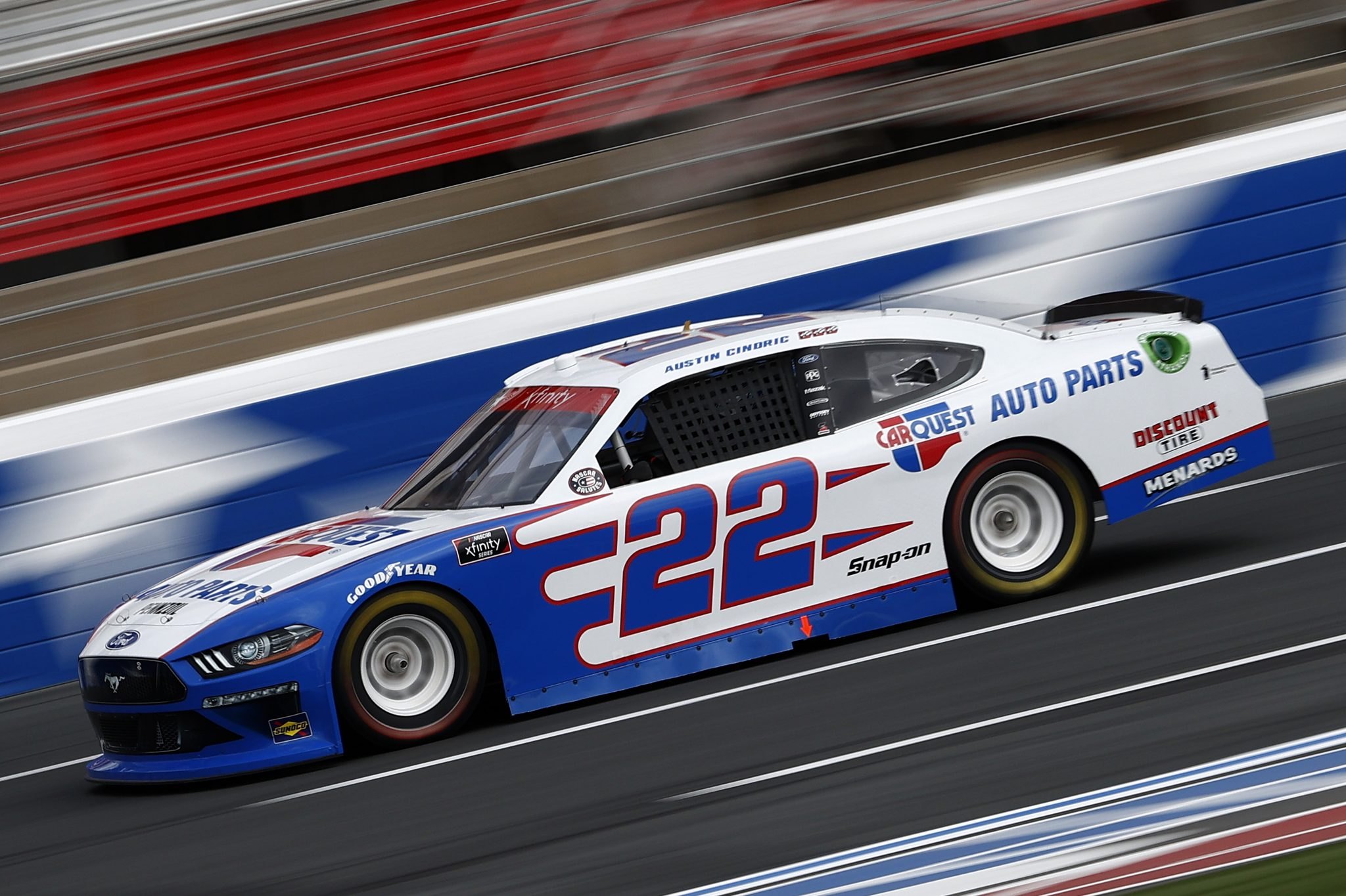 CONCORD, NORTH CAROLINA - MAY 28: Austin Cindric, driver of the #22 CarQuest Auto Parts Ford, drives during practice for the NASCAR Xfinity Series Alsco Uniforms 300 at Charlotte Motor Speedway on May 28, 2021 in Concord, North Carolina. (Photo by Maddie Meyer/Getty Images) | Getty Images