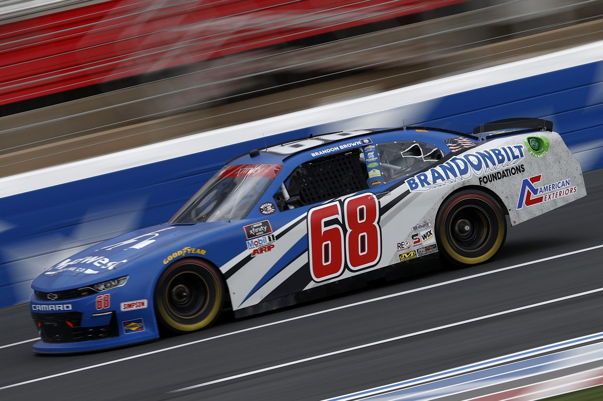 CONCORD, NORTH CAROLINA - MAY 28: Brandon Brown, driver of the #68 Brandonbilt Foundations Chevrolet, drives during practice for the NASCAR Xfinity Series Alsco Uniforms 300 at Charlotte Motor Speedway on May 28, 2021 in Concord, North Carolina. (Photo by Maddie Meyer/Getty Images) | Getty Images