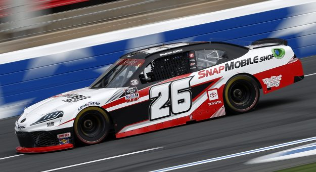 CONCORD, NORTH CAROLINA - MAY 28: Brandon Gdovic, driver of the #26 SnapMobile Toyota, drives during practice for the NASCAR Xfinity Series Alsco Uniforms 300 at Charlotte Motor Speedway on May 28, 2021 in Concord, North Carolina. (Photo by Maddie Meyer/Getty Images)   Getty Images