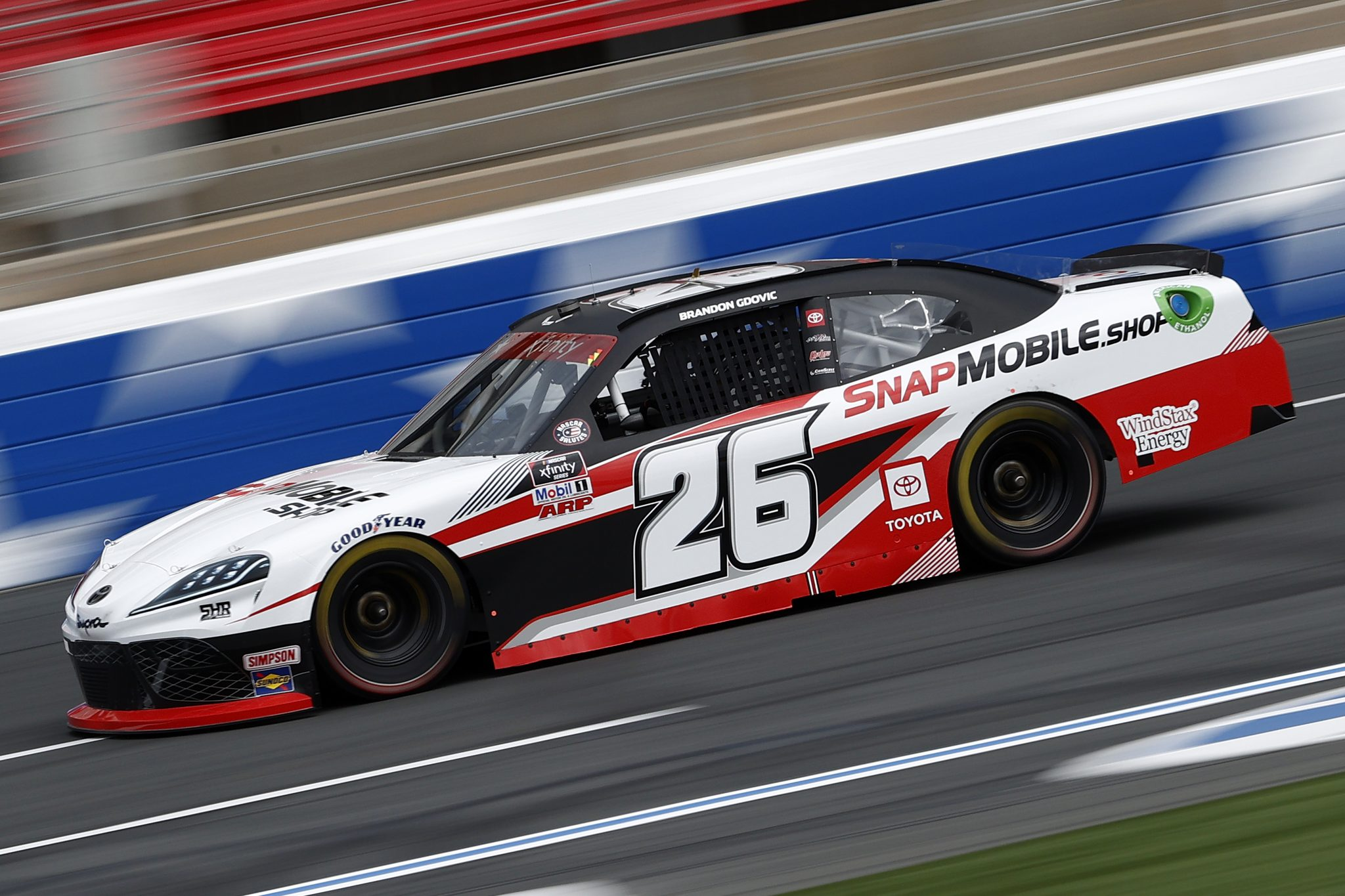 CONCORD, NORTH CAROLINA - MAY 28: Brandon Gdovic, driver of the #26 SnapMobile Toyota, drives during practice for the NASCAR Xfinity Series Alsco Uniforms 300 at Charlotte Motor Speedway on May 28, 2021 in Concord, North Carolina. (Photo by Maddie Meyer/Getty Images) | Getty Images