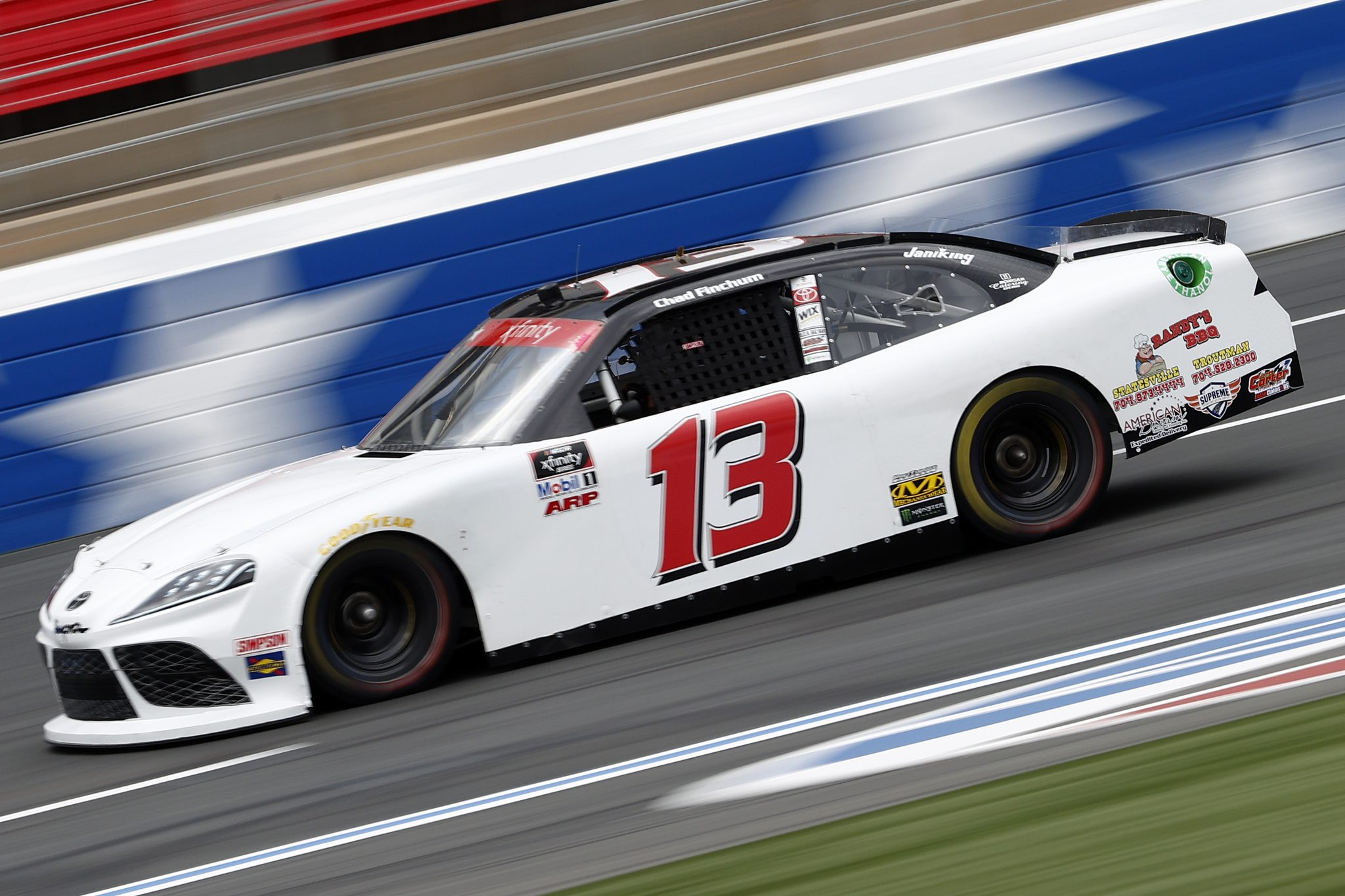 CONCORD, NORTH CAROLINA - MAY 28: Chad Finchum, driver of the #13 CrashClaimsR.US Toyota, drives during practice for the NASCAR Xfinity Series Alsco Uniforms 300 at Charlotte Motor Speedway on May 28, 2021 in Concord, North Carolina. (Photo by Maddie Meyer/Getty Images)   Getty Images