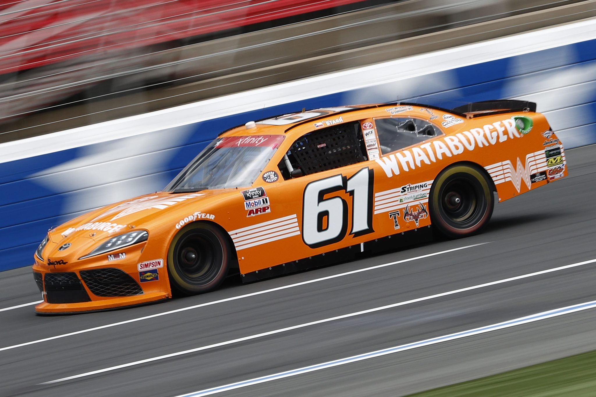CONCORD, NORTH CAROLINA - MAY 28: David Starr, driver of the #61 Whataburger Toyota, drives during practice for the NASCAR Xfinity Series Alsco Uniforms 300 at Charlotte Motor Speedway on May 28, 2021 in Concord, North Carolina. (Photo by Maddie Meyer/Getty Images) | Getty Images