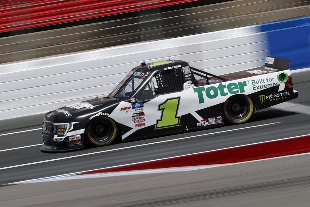 CONCORD, NORTH CAROLINA - MAY 28: Hailie Deegan, driver of the #1 Toter/Engine Ice Ford, drives during practice for the NASCAR Camping World Truck Series North Carolina Education Lottery 200 at Charlotte Motor Speedway on May 28, 2021 in Concord, North Carolina. (Photo by Maddie Meyer/Getty Images) | Getty Images