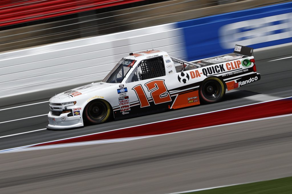 CONCORD, NORTH CAROLINA - MAY 28: Tate Fogleman, driver of the #12 Da-Quick Clip/Operation KARE Chevrolet, drives during practice for the NASCAR Camping World Truck Series North Carolina Education Lottery 200 at Charlotte Motor Speedway on May 28, 2021 in Concord, North Carolina. (Photo by Maddie Meyer/Getty Images) | Getty Images