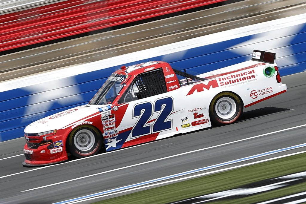 CONCORD, NORTH CAROLINA - MAY 28: Austin Wayne Self, driver of the #22 GOTEXAN/AM Technical Solutions Chevrolet, drives during practice for the NASCAR Camping World Truck Series North Carolina Education Lottery 200 at Charlotte Motor Speedway on May 28, 2021 in Concord, North Carolina. (Photo by Maddie Meyer/Getty Images) | Getty Images