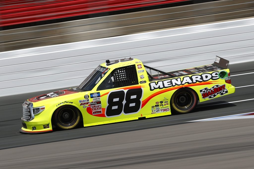 CONCORD, NORTH CAROLINA - MAY 28: Matt Crafton, driver of the #88 Jack Links/Menards Toyota, drives during practice for the NASCAR Camping World Truck Series North Carolina Education Lottery 200 at Charlotte Motor Speedway on May 28, 2021 in Concord, North Carolina. (Photo by Maddie Meyer/Getty Images) | Getty Images