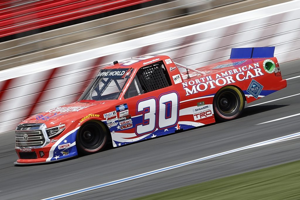 CONCORD, NORTH CAROLINA - MAY 28: Danny Bohn, driver of the #30 North American Motor Car Toyota, drives during practice for the NASCAR Camping World Truck Series North Carolina Education Lottery 200 at Charlotte Motor Speedway on May 28, 2021 in Concord, North Carolina. (Photo by Maddie Meyer/Getty Images) | Getty Images