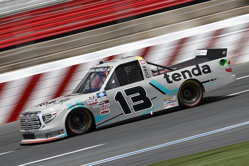 CONCORD, NORTH CAROLINA - MAY 28: Johnny Sauter, driver of the #13 Tenda Equine & Pet Care Products Toyota, drives during practice for the NASCAR Camping World Truck Series North Carolina Education Lottery 200 at Charlotte Motor Speedway on May 28, 2021 in Concord, North Carolina. (Photo by Maddie Meyer/Getty Images) | Getty Images