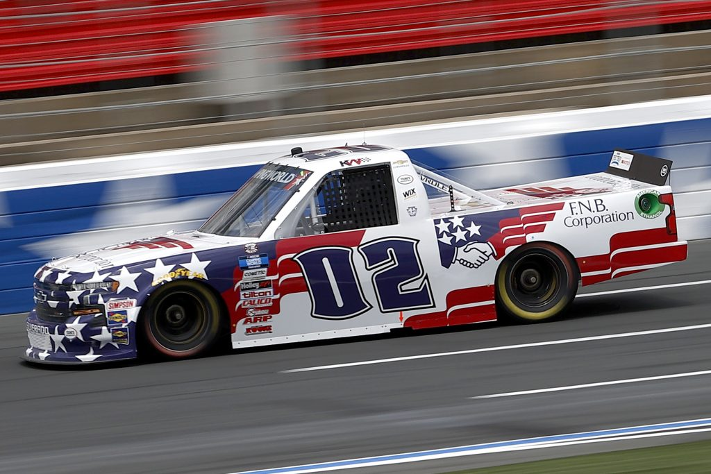 CONCORD, NORTH CAROLINA - MAY 28: Kris Wright, driver of the #02 First National Bank Chevrolet, drives during practice for the NASCAR Camping World Truck Series North Carolina Education Lottery 200 at Charlotte Motor Speedway on May 28, 2021 in Concord, North Carolina. (Photo by Maddie Meyer/Getty Images) | Getty Images