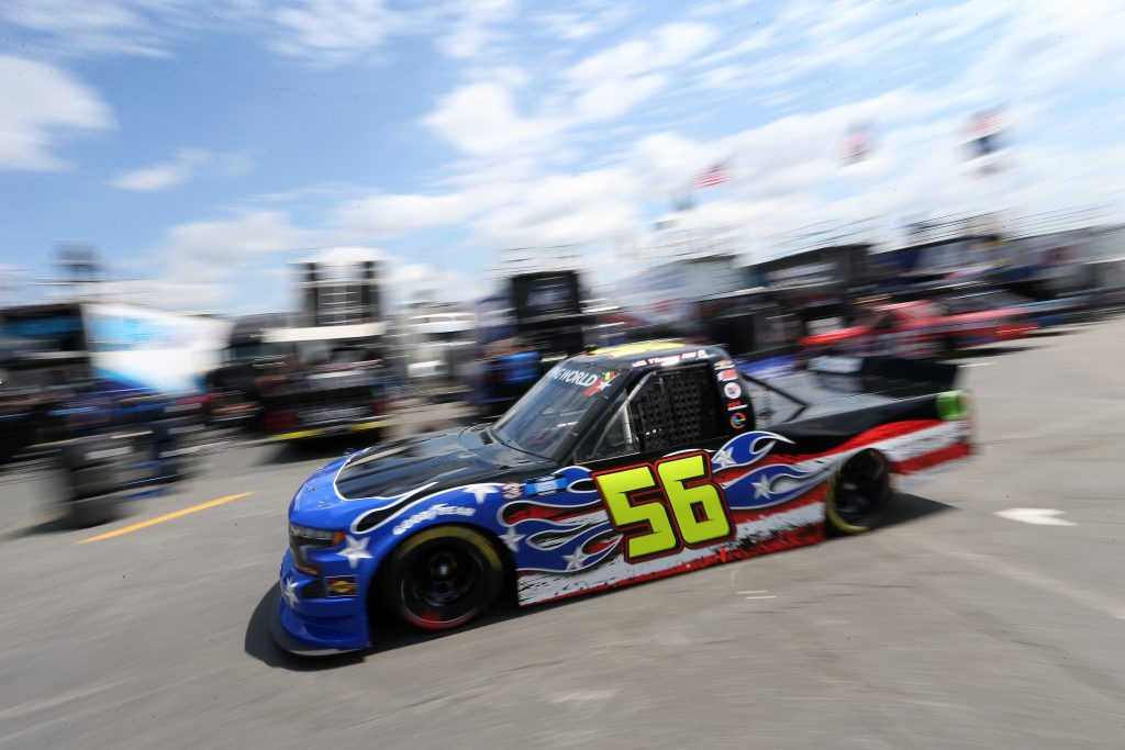 CONCORD, NORTH CAROLINA - MAY 28: Timmy Hill, driver of the #56 Hill Motorsports Chevrolet, exits the garage area during practice for the NASCAR Camping World Truck Series North Carolina Education Lottery 200 at Charlotte Motor Speedway on May 28, 2021 in Concord, North Carolina. (Photo by Brian Lawdermilk/Getty Images)   Getty Images