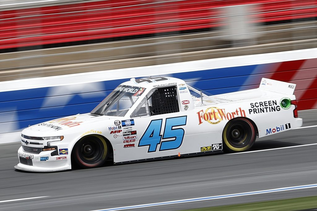 CONCORD, NORTH CAROLINA - MAY 28: Bayley Currey, driver of the #45 Niece Chevrolet, drives during practice for the NASCAR Camping World Truck Series North Carolina Education Lottery 200 at Charlotte Motor Speedway on May 28, 2021 in Concord, North Carolina. (Photo by Maddie Meyer/Getty Images) | Getty Images